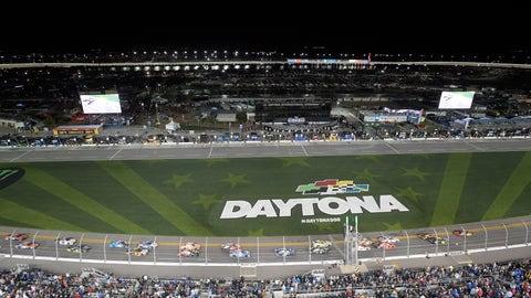 <p>               Drivers take the green flag on the start of the first of two qualifying races for the NASCAR Daytona 500 auto race at Daytona International Speedway Thursday, Feb. 14, 2019, in Daytona Beach, Fla. (AP Photo/Phelan M. Ebenhack)             </p>