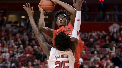 <p>               Maryland's Jalen Smith, top, goes for a basket against Nebraska's Nana Akenten (25) during the first half of an NCAA college basketball game in Lincoln, Neb., Wednesday, Feb. 6, 2019. (AP Photo/Nati Harnik)             </p>