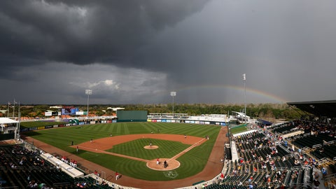<p>               A rainbow forms beyond Hammond stadium during a spring training baseball game between the Minnesota Twins and the Pittsburgh Pirates in Fort Myers, Fla., Tuesday, Feb. 26, 2019. (AP Photo/Gerald Herbert)             </p>