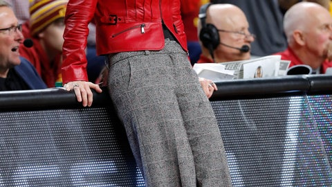 <p>               Baylor head coach Kim Mulkey reacts to a call against her team during the second half of an NCAA college basketball game against Iowa State, Saturday, Feb. 23, 2019, in Ames, Iowa. (AP Photo/Charlie Neibergall)             </p>
