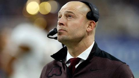 """<p>               FILE - In this Dec. 26, 2018, file photo, Minnesota head coach P.J. Fleck walks on the sidelines during the Quick Lane Bowl NCAA college football game against Georgia Tech in Detroit. Former Minnesota coach Jerry Kill says he won't speak again to P.J. Fleck, saying the current Golden Gophers coach is too selfish. Kill spoke to Sirius XM radio Tuesday, Feb 19, 2019, and said he thinks Fleck is """"about himself"""" instead of the players . (AP Photo/Carlos Osorio, File)             </p>"""
