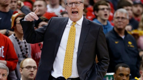 <p>               Iowa coach Fran McCaffery reacts to a call during the first half of the team's NCAA college basketball game against Ohio State in Columbus, Ohio, Tuesday, Feb. 26, 2019. Ohio State won 90-70. (AP Photo/Paul Vernon)             </p>