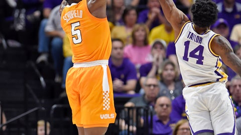 <p>               Tennessee guard Admiral Schofield (5) puts the ball up for 3-points as LSU guard Marlon Taylor (14) defends in the first half of an NCAA college basketball game, Saturday, Feb. 23, 2019, in Baton Rouge, La. (AP Photo/Bill Feig)             </p>