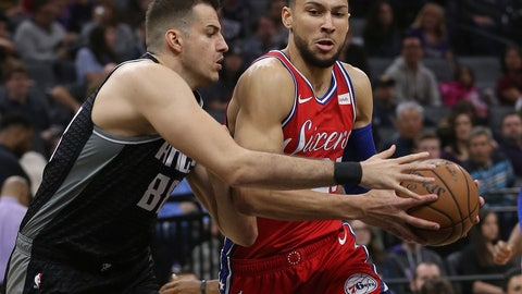 <p>               Philadelphia 76ers guard Ben Simmons, right, drives to the basket against Sacramento Kings forward Nemanja Bjelica, left, during the first quarter of an NBA basketball game Saturday, Feb. 2, 2019, in Sacramento, Calif. (AP Photo/Rich Pedroncelli)             </p>