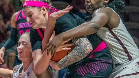 <p>               Louisville forward Sam Fuering, center, battles Virginia Tech forwards Regan Magarity, left, and Trinity Baptiste, right, in the second half of an NCAA college basketball game Sunday Feb. 10, 2019, in Blacksburg, Va. (AP Photo/Don Petersen)             </p>