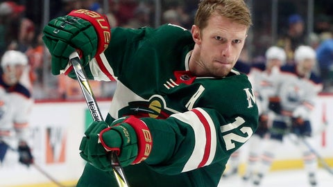 <p>               FILE - In this April 2, 2018, file photo, Minnesota Wild's Eric Staal warms up before an NHL hockey game against the Edmonton Oilers in St. Paul, Minn. Paul Fenton took a patient approach to shaping the Minnesota Wild in his first offseason as general manager, but by trading three core forwards in the last six weeks Fenton has made clear his skepticism of the team's ability to contend this season. Still, the Wild emerged from the trade deadline above the cut for the playoffs.  (AP Photo/Jim Mone, File)             </p>