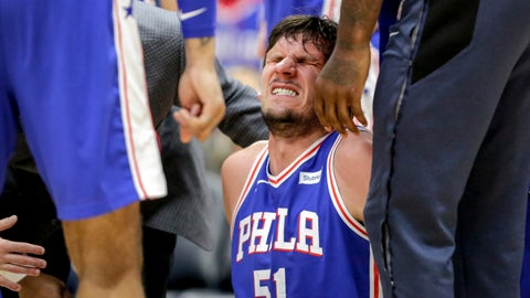 <p>               Philadelphia 76ers center Boban Marjanovic (51) winces in pain after being injured in the second half of an NBA basketball game in New Orleans, Monday, Feb. 25, 2019. The 76ers won 111-110. (AP Photo/Scott Threlkeld)             </p>