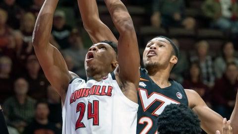 <p>               Louisville forward Dwayne Sutton (24) goes up for. Basket against Virginia Tech Hokies forward Kerry Blackshear Jr. (24) during the first half of an NCAA college basketball game Monday, Feb. 4, 2019, in Blacksburg, Va. (AP Photo/Don Petersen)             </p>