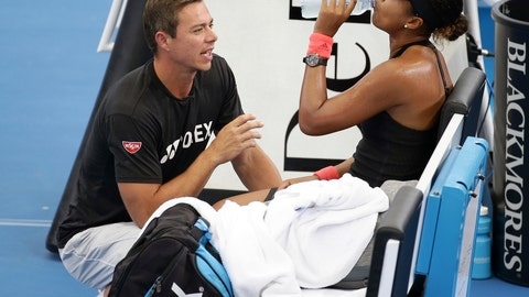 "<p>               File- This Jan. 5, 2019, file photo shows Naomi Osaka of Japan talking to her coach Sascha Bajin, left, during her semifinal match against Lesia Tsurenko of Ukraine at the Brisbane International tennis tournament in Brisbane, Australia. Osaka says she has split with coach Sascha Bajin a little more than two weeks after winning the Australian Open for her second consecutive Grand Slam title. Osaka posted a tweet on Monday, Feb. 11, 2019, that says she ""will no longer be working together with Sascha."" She also thanked Bajin and wished him ""all the best in the future."" (AP Photo/Tertius Pickard)             </p>"