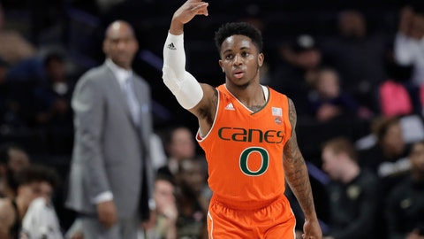 <p>               Miami's Chris Lykes (0) gestures after a basket against Wake Forest during the first half of an NCAA college basketball game in Winston-Salem, N.C., Tuesday, Feb. 26, 2019. (AP Photo/Chuck Burton)             </p>