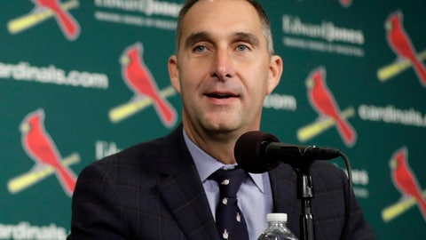 <p>               FILE - In this Friday, Dec. 9, 2016 file photo, St. Louis Cardinals general manager John Mozeliak speaks during an introductory news conference announcing free agent center fielder Dexter Fowler has signed with the Cardinals in St. Louis. John Mozeliak has built enough championship clubs in St. Louis that he immediately recognized after the Cardinals failed to make the playoffs last season that changes needed to be made. So with an aggressive approach to the offseason, Mozeliak traded for six-time All-Star first baseman Paul Goldschmidt to provide some pop to his lineup, then he signed two-time All-Star reliever Andrew Miller to a $25 million, two-year contract to close out games at the back of the bullpen.(AP Photo/Jeff Roberson, File)             </p>