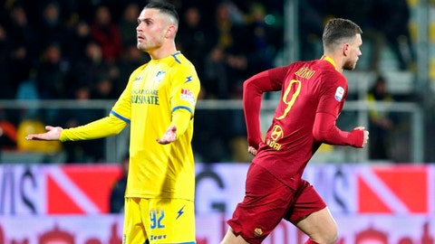 <p>               Roma's Edin Dzeko, right, jubilates after scoring a goal against Frosinone, during the Italian Serie A soccer match at the Benito Stirpe stadium in Frosinone, Italy, Saturday Feb. 23, 2019. (Federico Proietti/ANSA via AP)             </p>