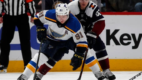 <p>               St. Louis Blues right wing Vladimir Tarasenko, front, collects the puck as Colorado Avalanche left wing Gabriel Landeskog defends in the third period of an NHL hockey game Saturday, Feb. 16, 2019, in Denver. The Blues won 3-0. (AP Photo/David Zalubowski)             </p>