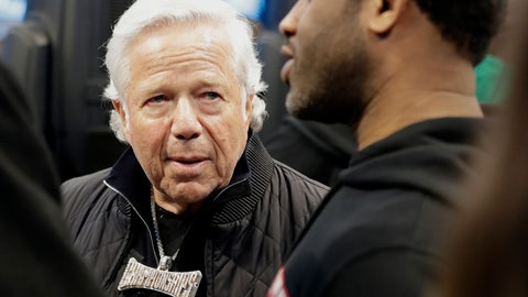 <p>               New England Patriots Owner Robert Kraft speaks to fans during the first half of an NBA All-Star basketball game, Sunday, Feb. 17, 2019, in Charlotte, N.C. (AP Photo/Chuck Burton)             </p>