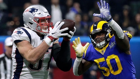 <p>               New England Patriots' Rob Gronkowski (87) catches a pass in front of Los Angeles Rams' Cory Littleton (58) during the second half of the NFL Super Bowl 53 football game Sunday, Feb. 3, 2019, in Atlanta.(AP Photo/Patrick Semansky)             </p>