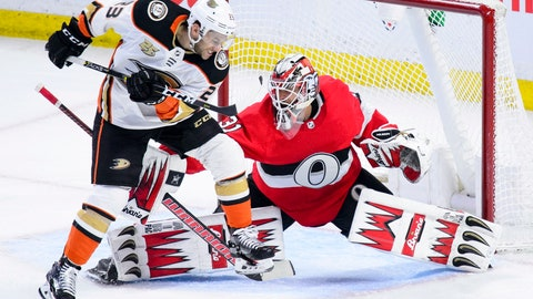 <p>               Anaheim Ducks left wing Brian Gibbons (23) misses a deflection attempt as Ottawa Senators goaltender Anders Nilsson (31) makes a save during the third period of an NHL hockey game, Thursday, Feb. 7, 2019 in Ottawa, Ontario. (Sean Kilpatrick/The Canadian Press via AP)             </p>