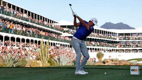 <p>               Rickie Fowler hits from the 16th tee during the second round of the Phoenix Open PGA golf tournament, Friday, Feb. 1, 2019, in Scottsdale, Ariz. (AP Photo/Matt York)             </p>