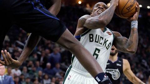 <p>               Milwaukee Bucks' Eric Bledsoe looks to shoot past Orlando Magic's Jonathan Isaac during the second half of an NBA basketball game Saturday, Feb. 9, 2019, in Milwaukee. (AP Photo/Aaron Gash)             </p>