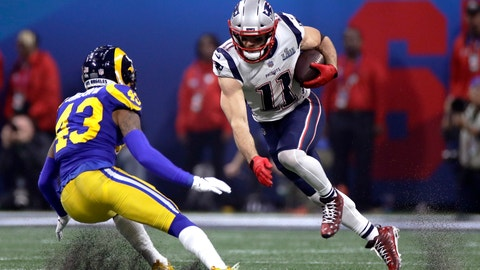 <p>               New England Patriots' Julian Edelman, right, tries to elude Los Angeles Rams' John Johnson III (43) after catching a pass during the second half of the NFL Super Bowl 53 football game Sunday, Feb. 3, 2019, in Atlanta. (AP Photo/Carolyn Kaster)             </p>