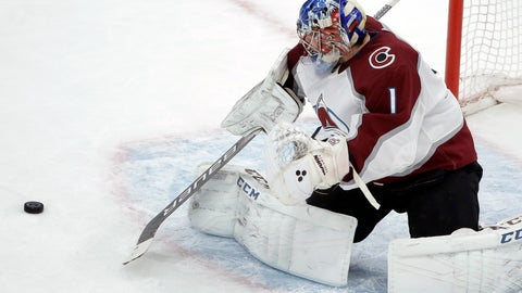 <p>               Colorado Avalanche's Semyon Varlamov, of Russia, deflects an attempt on goal during the first period of an NHL hockey game against the Boston Bruins, Sunday, Feb. 10, 2019, in Boston. (AP Photo/Steven Senne)             </p>