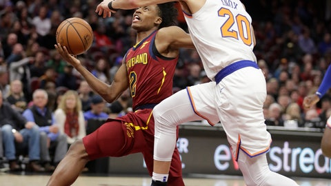<p>               Cleveland Cavaliers' Collin Sexton (2) drives to the basket against New York Knicks' Kevin Knox (20) in the first half of an NBA basketball game, Monday, Feb. 11, 2019, in Cleveland. (AP Photo/Tony Dejak)             </p>