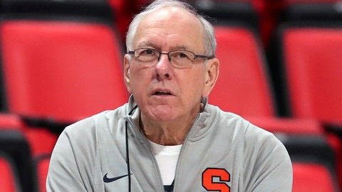 <p>               FILE - In this March 15, 2018, file photo, Syracuse head coach Jim Boeheim watches during a practice for an NCAA men's college basketball tournament first-round game, in Detroit. Police say Syracuse men's basketball coach Jim Boeheim struck and killed a 51-year-old man walking outside his vehicle on a highway near Syracuse, N.Y., Wednesday, Feb. 20, 2019. (AP Photo/Carlos Osorio, File)             </p>