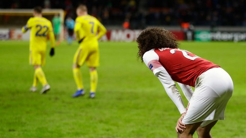 <p>               Arsenal's Matteo Guendouzi reacts at the end of the Europa League round of 32 first leg soccer match between Bate and Arsenal at the Borisov-Arena in Borisov, Belarus, Thursday, Feb. 14, 2019. (AP Photo/Sergei Grits)             </p>