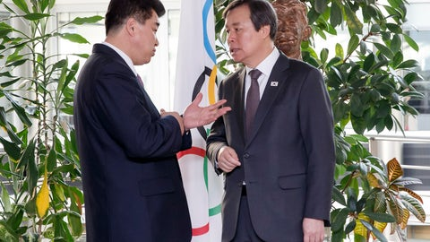 <p>               North Korea's Olympic Committee President and sports minister Kim Il Guk, left, talks to South Korean Sports Minister Do Jong-hwan, right, at the meeting with the IOC for their bid to co-host the 2032 Summer Olympics, at the IOC Headquarters in Lausanne, Switzerland, Friday, February 15, 2019. (Salvatore Di Nolfi/Keystone via AP)             </p>