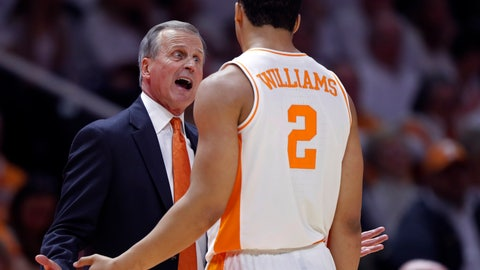 <p>               Tennessee coach Rick Barnes talks with forward Grant Williams (2) during the second half of an NCAA college basketball game against Florida on Saturday, Feb. 9, 2019, in Knoxville, Tenn. Tennessee won 73-61. (AP photo/Wade Payne)             </p>