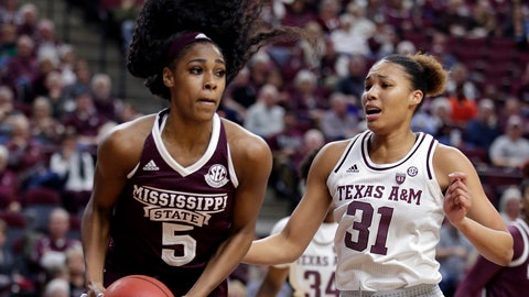 <p>               Mississippi State forward Anriel Howard (5) pulls down a rebound in front of Texas A&M forward N'dea Jones (31) during the first half of an NCAA college basketball game Sunday, Feb. 17, 2019, in College Station, Texas. (AP Photo/Michael Wyke)             </p>