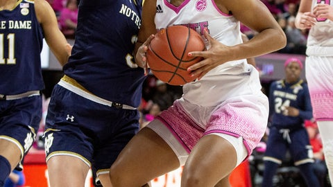<p>               North Carolina State's Kai Crutchfield, right, handles the ball as Notre Dame's Marina Mabrey, left, defends during the first half of an NCAA college basketball game in Raleigh, N.C., Monday, Feb. 18, 2019. (AP Photo/Ben McKeown)             </p>