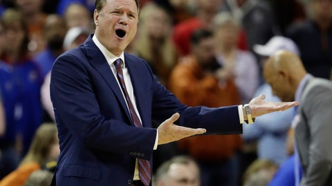 <p>               Kansas coach Bill Self reacts to a play during the second half on the team's NCAA college basketball game against Texas in Austin, Texas, Tuesday, Jan. 29, 2019. Texas won 73-63. (AP Photo/Eric Gay)             </p>