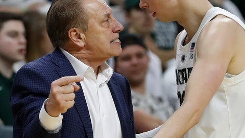 <p>               Michigan State coach Tom Izzo has a talk with guard Matt McQuaid during the second half of the team's NCAA college basketball game against Rutgers, Wednesday, Feb. 20, 2019, in East Lansing, Mich. (AP Photo/Carlos Osorio)             </p>