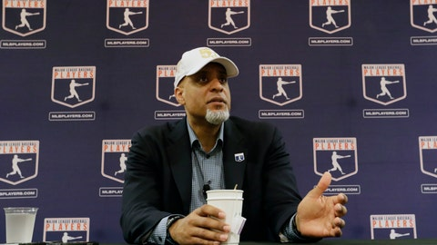 <p>               FILE - In this Feb. 19, 2017, file photo, Executive Director of the Major League Players Association, Tony Clark, answers questions at a news conference in Phoenix. Players' union head Tony Clark is guarding against drawing any conclusions about the free-agent market based on Manny Machado's contract and says Adam Wainwright's recent comments about a possible strike were in line with the level of concern he hears from the pitcher's colleagues. Clark met with the Los Angeles Angels on Thursday, Feb. 21, 2019, starting his spring training tour as several top players still look for teams. (AP Photo/Morry Gash, File)             </p>