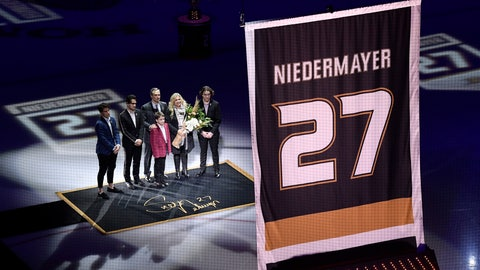 <p>               Former Anaheim Ducks defenseman Scott Niedermayer watches along with his family as his jersey is retired prior to an NHL hockey game between the Ducks and the Washington Capitals Sunday, Feb. 17, 2019, in Anaheim, Calif. (AP Photo/Mark J. Terrill)             </p>