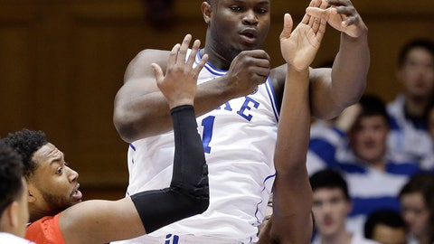 <p>               Duke's Zion Williamson (1) passes the ball while St. John's Shamorie Ponds, left, and Mustapha Heron defend during the first half of an NCAA college basketball game in Durham, N.C., Saturday, Feb. 2, 2019. (AP Photo/Gerry Broome)             </p>