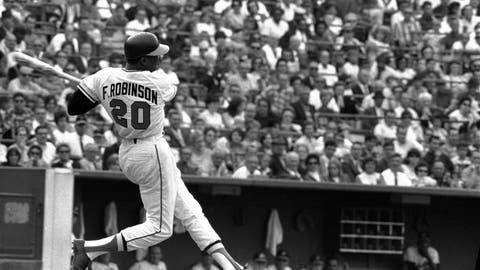 <p>               FILE -This is a May 19, 1966, file photo showing Baltimore Orioles' Frank Robinson at bat. Hall of Famer Frank Robinson, the first black manager in Major League Baseball and the only player to win the MVP award in both leagues, has died. He was 83. Robinson had been in hospice care at his home in Bel Air. MLB confirmed his death Thursday, Feb. 7, 2019.(AP Photo/File)             </p>