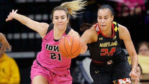 <p>               Maryland forward Stephanie Jones, right, fights for the ball with Iowa forward Hannah Stewart, left, during the first half of an NCAA college basketball game, Sunday, Feb. 17, 2019, in Iowa City, Iowa. (AP Photo/Charlie Neibergall)             </p>