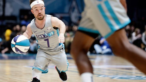 <p>               Away team's Brad Williams (7) dribbles during the first half of an NBA All-Star Celebrity basketball game in Charlotte, N.C., Friday, Feb. 15, 2019. (AP Photo/Gerry Broome)             </p>