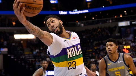 <p>               New Orleans Pelicans forward Anthony Davis (23) reaches for the ball ahead of Memphis Grizzlies forward Bruno Caboclo (5) during the first half of an NBA basketball game Saturday, Feb. 9, 2019, in Memphis, Tenn. (AP Photo/Brandon Dill)             </p>