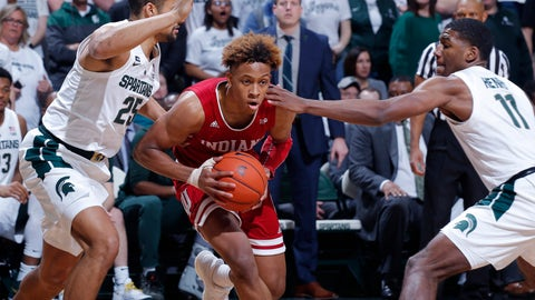 <p>               Indiana's Romeo Langford, center, drives between Michigan State's Kenny Goins, left, and Aaron Henry (11) during the first half of an NCAA college basketball game, Saturday, Feb. 2, 2019, in East Lansing, Mich. (AP Photo/Al Goldis)             </p>
