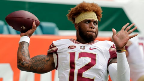 <p>               FILE - In this Saturday, Oct. 6, 2018, file photo, Florida State quarterback Deondre Francois (12) warms up before an NCAA college football game against Miami, in Miami Gardens, Fla. Florida State head football coach Willie Taggart announced Sunday, Feb. 3, 2019, that Francois has been dismissed from the team after allegations of domestic abuse surfaced. (AP Photo/Lynne Sladky, File)             </p>