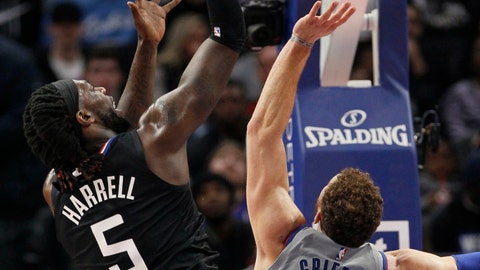 <p>               Los Angeles Clippers forward Montrezl Harrell (5) gets a shot off against Detroit Pistons forward Blake Griffin (23) during the first half of an NBA basketball game Saturday, Feb. 2, 2019, in Detroit. (AP Photo/Duane Burleson)             </p>
