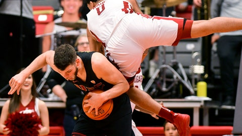 <p>               Washington State forward Isaiah Wade (0) fouls Southern California forward Nick Rakocevic during the second half of an NCAA college basketball game Saturday, Feb. 2, 2019, in Pullman, Wash. (Pete Caster/Lewiston Tribune via AP)             </p>