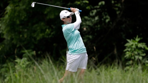 <p>               FILE - In this June 27, 2018, file photo, Karrie Webb, of Australia, watches her tee shot on the 17th hole during a practice round for the KPMG Women's PGA Championship golf tournament at Kemper Lakes Golf Course in Lake Zurich, Ill. Webb's bid for a sixth Women's Australian Open title began with a 5-under 67 at The Grange, Thursday, Feb. 14, 2019, leaving her two strokes behind first-round leaders Jodi Ewart Shadoff and Wei-Ling Hsu. (AP Photo/Nam Y. Huh, File)             </p>
