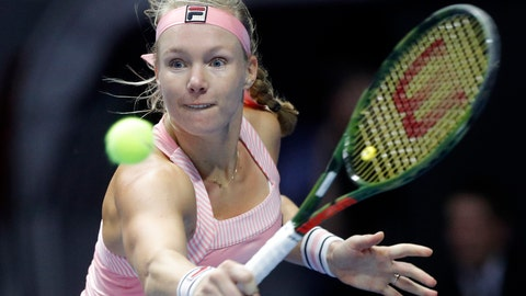 <p>               Kiki Bertens of Netherlands returns the ball to Aryna Sabalenka of Belarus during the St. Petersburg Ladies Trophy-2019 tennis tournament semifinal match in St.Petersburg, Russia, Saturday, Feb. 2, 2019. (AP Photo/Dmitri Lovetsky)             </p>