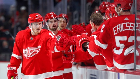 <p>               Detroit Red Wings right wing Gustav Nyquist (14) celebrates his goal against the San Jose Sharks in the first period of an NHL hockey game Sunday, Feb. 24, 2019, in Detroit. (AP Photo/Paul Sancya)             </p>