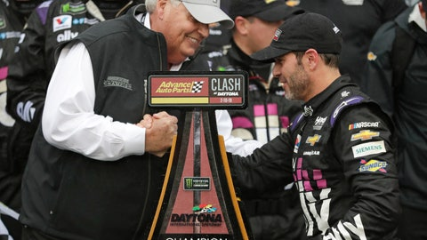 <p>               Car owner Rick Hendrick, left, congratulates driver Jimmie Johnson after he won the NASCAR Clash auto race at Daytona International Speedway, Sunday, Feb. 10, 2019, in Daytona Beach, Fla. (AP Photo/John Raoux)             </p>