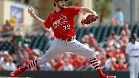 <p>               St. Louis Cardinals starting pitcher Miles Mikolas throws during the first inning of an exhibition spring training baseball game against the Miami Marlins Saturday, Feb. 23, 2019, in Jupiter, Fla. (AP Photo/Jeff Roberson)             </p>