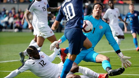 <p>               Costa Rica goalkeeper Esteban Alvarado (1) blocks a shot by United States midfielder Christian Roldan (10) during the first half of an international friendly soccer match on Saturday, Feb. 2, 2019, in San Jose, Calif. (AP Photo/Tony Avelar)             </p>